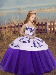 Floor Length Lace Up Custom Made Pageant Dress Eggplant Purple and Purple for Party and Wedding Party with Embroidery