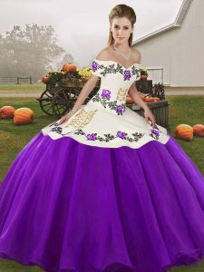 Inexpensive Sleeveless Lace Up Floor Length Embroidery Quinceanera Dress