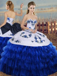 Hot Sale Royal Blue Sleeveless Floor Length Embroidery and Ruffled Layers and Bowknot Lace Up Quinceanera Dresses
