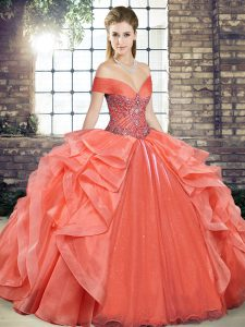 Most Popular Orange Red Organza Lace Up Off The Shoulder Sleeveless Floor Length Quinceanera Gowns Beading and Ruffles