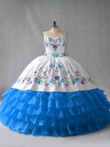 Blue And White Organza Lace Up Vestidos de Quinceanera Sleeveless Floor Length Embroidery and Ruffled Layers
