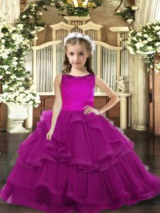 Fantastic Sleeveless Lace Up Floor Length Ruffled Layers Pageant Dress Womens
