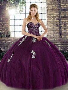 Adorable Dark Purple Sleeveless Floor Length Beading and Appliques Lace Up 15 Quinceanera Dress