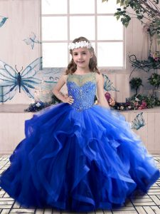 Top Selling Scoop Sleeveless Little Girl Pageant Dress Floor Length Beading and Ruffles Royal Blue Tulle