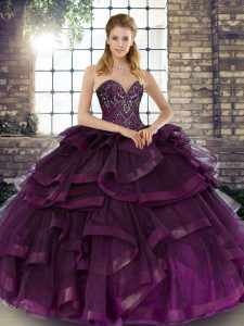 Custom Designed Dark Purple 15 Quinceanera Dress Military Ball and Sweet 16 and Quinceanera with Beading and Ruffles Sweetheart Sleeveless Lace Up