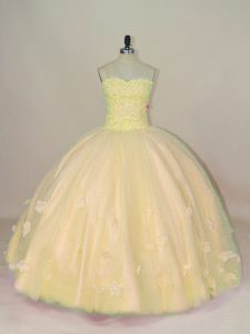 Comfortable Tulle Sweetheart Sleeveless Lace Up Beading and Hand Made Flower Quinceanera Gown in Yellow
