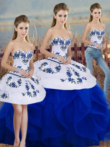Sleeveless Lace Up Floor Length Embroidery and Ruffles and Bowknot 15 Quinceanera Dress