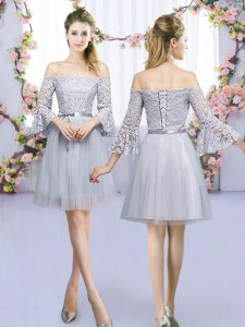 Simple Mini Length Lace Up Court Dresses for Sweet 16 Grey for Wedding Party with Lace and Belt