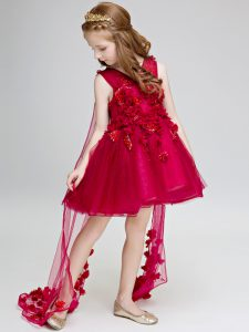 Ball Gowns Sleeveless Wine Red Little Girl Pageant Gowns Watteau Train Lace Up