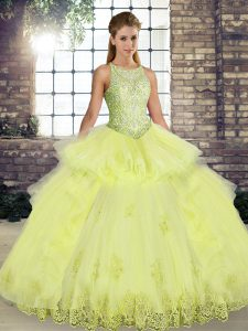 Fantastic Floor Length Yellow Quinceanera Dresses Scoop Sleeveless Lace Up