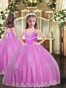 Lilac Ball Gowns Appliques Pageant Dress for Womens Lace Up Tulle Sleeveless Floor Length