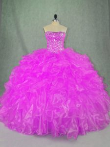 Flirting Lilac Sleeveless Beading and Ruffles Floor Length Quinceanera Gown