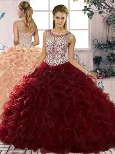 Burgundy Organza Lace Up Ball Gown Prom Dress Sleeveless Floor Length Beading and Ruffles