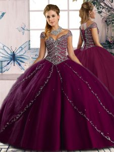 Sweetheart Cap Sleeves Brush Train Lace Up Ball Gown Prom Dress Purple Tulle