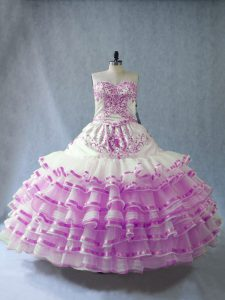 Glittering Floor Length Lace Up Vestidos de Quinceanera Lilac for Sweet 16 and Quinceanera with Embroidery and Ruffled Layers