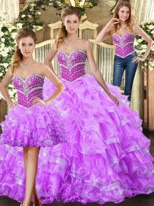 Stunning Three Pieces Quinceanera Dresses Lilac Sweetheart Organza Sleeveless Floor Length Lace Up