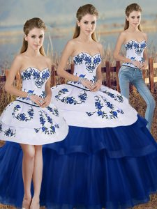 Royal Blue Tulle Lace Up Sweetheart Sleeveless Floor Length Sweet 16 Quinceanera Dress Embroidery and Bowknot
