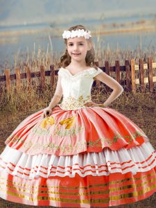 Fashionable Orange Red Ball Gowns Satin Off The Shoulder Sleeveless Embroidery Floor Length Lace Up Kids Pageant Dress