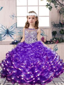 Sleeveless Floor Length Beading and Ruffles Lace Up Little Girl Pageant Dress with Lavender