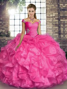 Hot Pink Off The Shoulder Lace Up Beading and Ruffles Sweet 16 Dresses Sleeveless