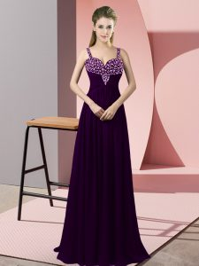 Beautiful Floor Length Zipper Prom Dress Dark Purple for Prom and Party with Beading