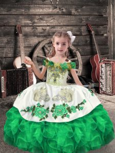 Beading and Embroidery and Ruffles Pageant Dress for Teens Green Lace Up Sleeveless Floor Length