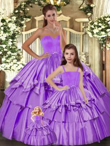 Lilac Taffeta Lace Up Party Dress for Toddlers Sleeveless Floor Length Ruffled Layers