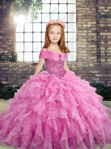 Organza Straps Sleeveless Lace Up Beading and Ruffles Child Pageant Dress in Lilac