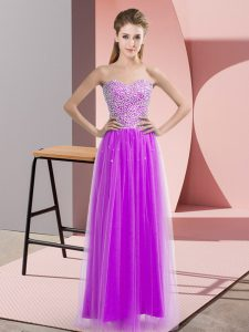 Fantastic Lilac Sweetheart Neckline Beading Homecoming Dress Sleeveless Lace Up