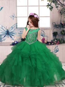 Best Organza Scoop Sleeveless Zipper Beading and Ruffles Little Girl Pageant Gowns in Green