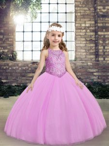 Luxurious Lilac Tulle Lace Up Scoop Sleeveless Floor Length Pageant Dress for Girls Beading