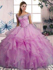 Chic Beading and Ruffles Quinceanera Gown Lilac Lace Up Sleeveless Floor Length