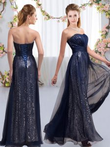 Floor Length Navy Blue Dama Dress for Quinceanera Sweetheart Sleeveless Lace Up