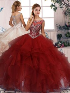 Lovely Burgundy Ball Gown Prom Dress Military Ball and Sweet 16 and Quinceanera with Beading and Ruffles Scoop Sleeveless Zipper