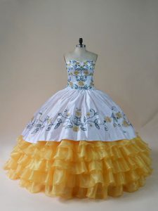 Nice Yellow And White Sweetheart Lace Up Embroidery and Ruffled Layers Quinceanera Dresses Sleeveless