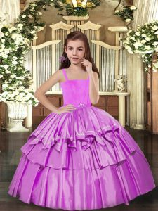 Custom Made Lilac Lace Up Winning Pageant Gowns Ruffled Layers Sleeveless Floor Length
