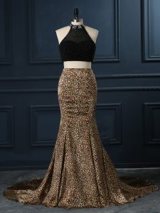 Black Zipper Evening Gowns Beading Sleeveless Court Train