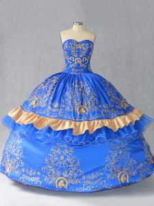 Latest Satin and Organza Sweetheart Sleeveless Lace Up Embroidery and Bowknot Quinceanera Dresses in Blue