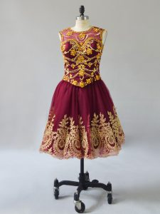 Mini Length A-line Sleeveless Burgundy Prom Gown Lace Up