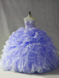 Lavender Ball Gowns Strapless Sleeveless Organza Brush Train Lace Up Beading and Ruffles and Pick Ups Quince Ball Gowns