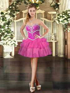 Sophisticated Sleeveless Tulle Mini Length Lace Up Prom Evening Gown in Hot Pink with Beading and Ruffled Layers