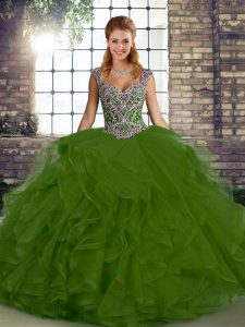 Elegant Olive Green Lace Up Straps Beading and Ruffles 15 Quinceanera Dress Tulle Sleeveless