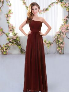 Extravagant One Shoulder Sleeveless Chiffon Damas Dress Ruching Zipper