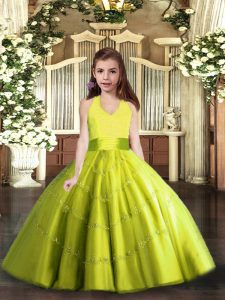 Admirable Sleeveless Tulle Floor Length Lace Up Pageant Dress for Womens in Yellow Green with Beading