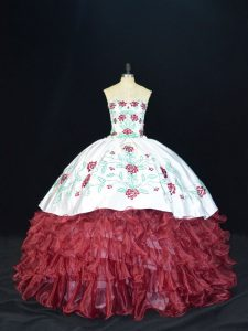 Burgundy Sleeveless Embroidery and Ruffles Floor Length Quinceanera Gowns