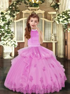 Ball Gowns Pageant Dress for Teens Lilac High-neck Tulle Sleeveless Floor Length Backless