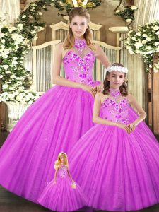 Wonderful Lilac Sleeveless Floor Length Embroidery Lace Up Quinceanera Gowns
