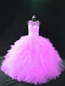 Pretty Organza Scoop Sleeveless Lace Up Beading and Ruffles Vestidos de Quinceanera in Lilac