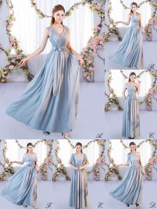 Chiffon Off The Shoulder Sleeveless Lace Up Belt Dama Dress for Quinceanera in Grey