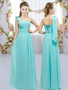 Designer Chiffon Sleeveless Floor Length Dama Dress for Quinceanera and Hand Made Flower